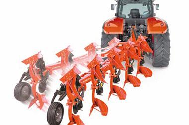 Vari Width variomat system Kubota RM3005V SERIES Plough Cultivator